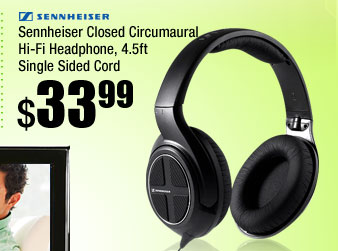 Sennheiser Closed Circumaural Hi-Fi Headphone, 4.5ft Single Sided Cord