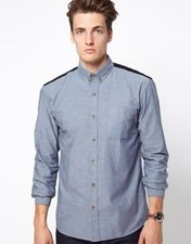 Selected Chambray Shirt with Cord Elbow Patches