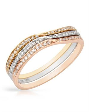 Vida Ladies Ring Designed In 14K Three Tone Gold