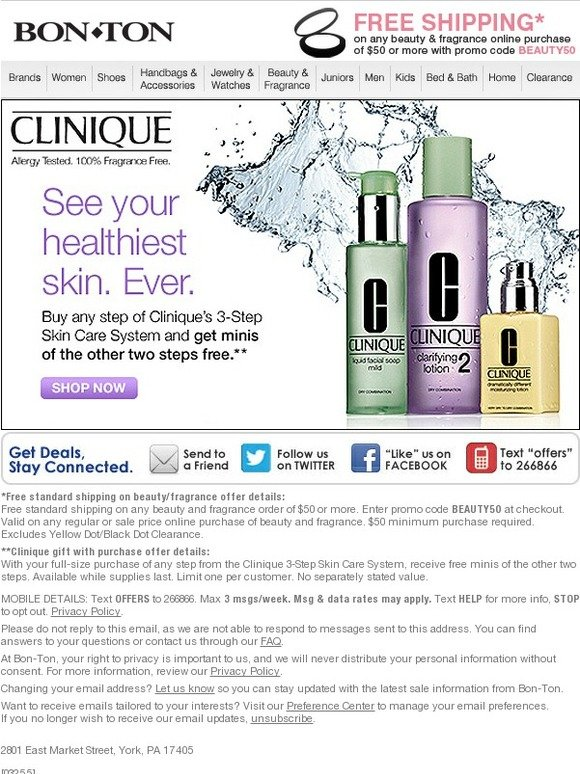 Bonton: Clinique's 3-Step Skin Care System | Buy 1 Step, get 2 FREE | Milled