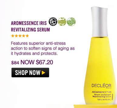 Shopper's Choice, 100% Natural, Paraben-free Aromessence Iris Revitalizing Serum Features superior anti-stress action to soften signs of aging as it hydrates and protects. $84 Shop Now>>