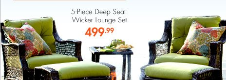 5-Piece Deep Seat Wicker Lounge Set 499.99