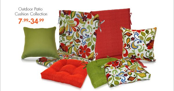 Outdoor Patio Cushion Collection 7.99-34.99