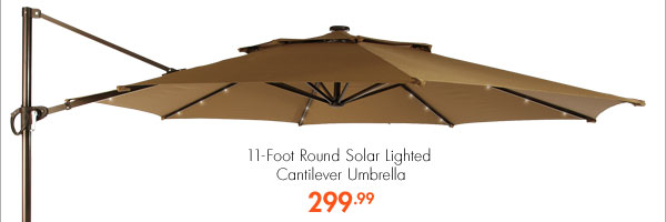 11-Foot Round Solar Lighted Cantilever Umbrella 299.99