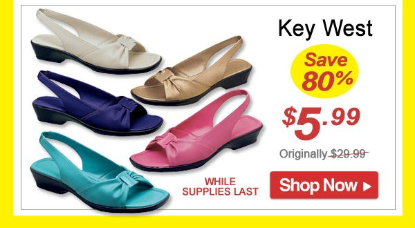 Key West Slingback - Save 80% - Now Only $5.99 Limited Time Offer