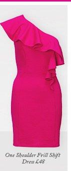 One Shoulder Frill Shift Dress