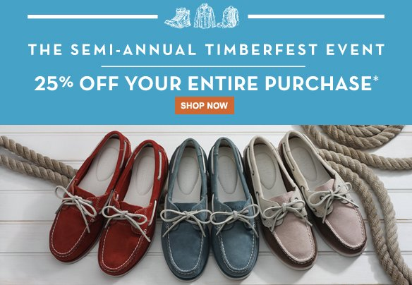 The Semi-Annual TimberFest Event. 25% off your entire purchase.* Shop Now