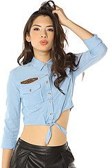The Logan Chambray Embroidered Tie Top in Light Blue