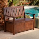 Cabos Java Brown Wood Storage Bench