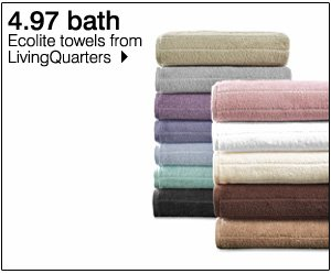 4.97 bath. Ecolite towels from LivingQuarters. Shop now.