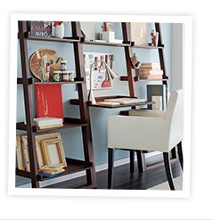 Sloane Java Leaning Desk with Two 18 in.  Bookcases