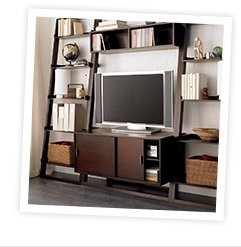Sloane Java 43.75 in. Leaning Media Stand  with Two 25.5 in. Bookcases