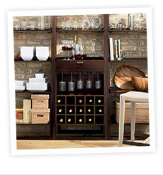 Sloane Java Leaning Wine Bar with Two 25.5  in. Bookcases