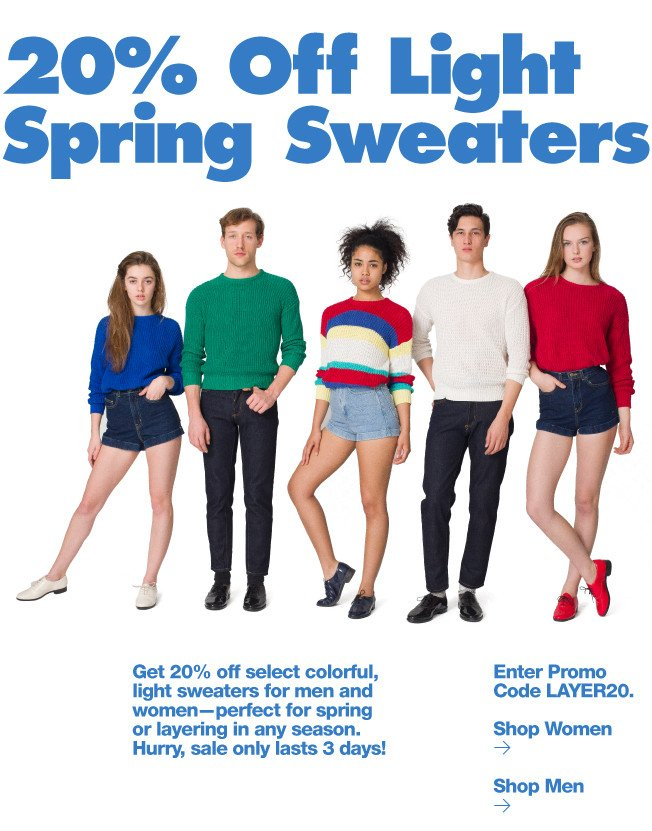20% Off Light Spring Sweaters
