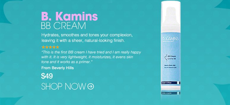 "B. Kamins BB Cream Hydrates, smoothes and tones your complexion, leaving it with a sheer, natural-looking finish. ""This is the first BB cream I have tried and I am really happy with it. It is very lightweight, it moisturizes, it evens skin tone and it works as a primer."" –From Beverly Hills $49 Shop Now>>"