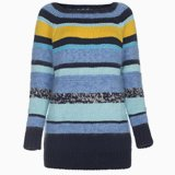 Sky Blue Hand-Knitted Stripe Jumper