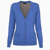 Blue Contrast Back V-Neck Cardigan
