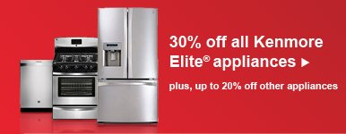 30% off all Kenmore Elite(R) appliances