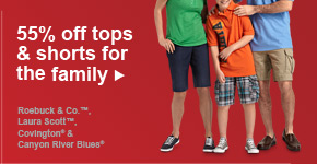 55% off tops & shorts for the family