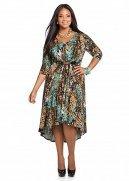 Web Exclusive: Belted Splatter Print Hi-lo Dress