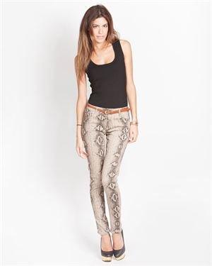 Yuka Slim-Leg Snake Print Stretch Jeans
