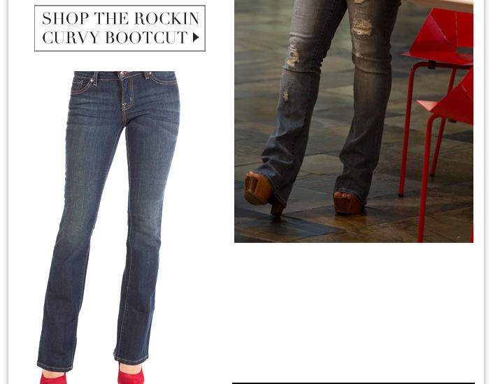 Jessica wears the Rockin Curvy Bootcut and the Dany Platforms. 25% OFF Denim and Dresses.