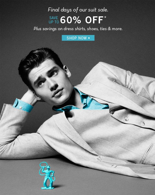 Final Days of Suit Sale, Save Up to 60% Off Best-Selling Suits