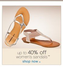up to 40% off women's sandals. Shop now.