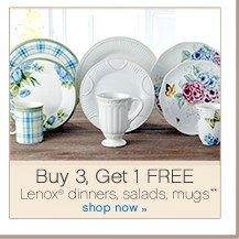 Buy 3, Get 1 FREE. Lenox&reg' dinners, salads, mugs. Shop now.