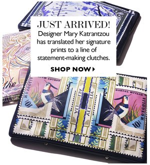 JUST ARRIVED Designer Mary Katrantzou has transplanted her signature prints to a line of statement-making clutches. SHOP NOW