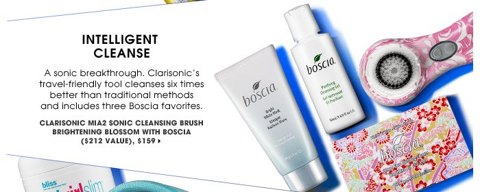 Intelligent Cleanse | A sonic breakthrough. Clarisonic's travel-friendly tool cleanses six times better than traditional methods and includes three Boscia favorites. | Clarisonic Mia2 Sonic Cleansing Brush Brightening Blossom with Boscia ($212 Value), $159