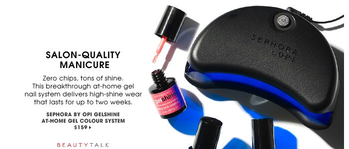 Salon-Quality Manicure | Zero chips, tons of shine. This breakthrough at-home gel nail system delivers high-shine wear that lasts for up to two weeks. | SEPHORA by OPI gelshine At-Home Gel Colour System, $159