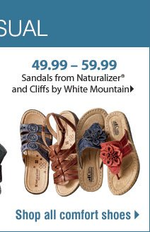 39.99 - 59.99 Sandals from Naturalizer® and Cliffs by White Mountain - Shop all comfort shoes