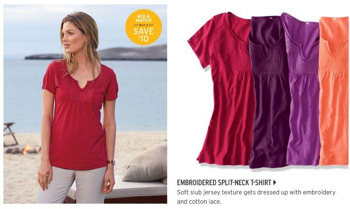 Embroidered Split-Neck T-Shirt
