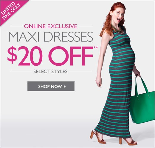 Online Exclusive: Maxi Dresses $20 Off Select Styles - For a limited time