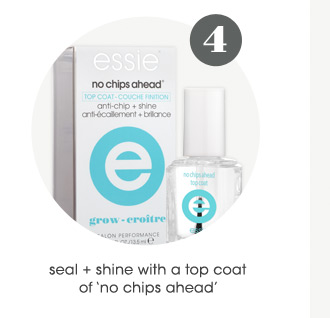 Step 4: seal + shine with a top coat of 'no chips ahead'