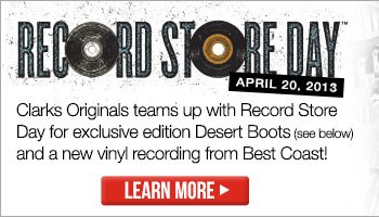 Clarks Originals teams up with Record Store Day for exclusive edition Desert Boots (see below) and a new vinyl recording from Best Coast!