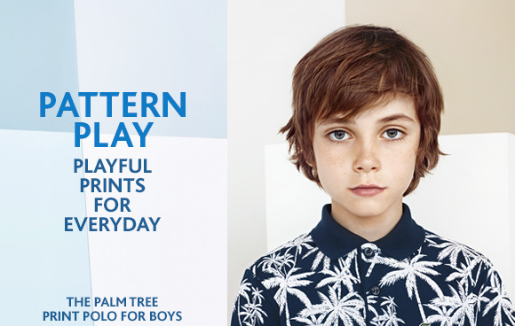 PATTERN PLAY. PLAYFUL PRINTS FOR EVERYDAY. THE PALM TREE PRINT POLO  FOR BOYS