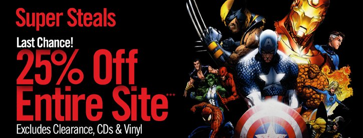 SUPER STEALS - LAST CHANCE! 25% OFF ENTIRE SITE** EXCLUDES CLEARANCE, CDS & VINYL