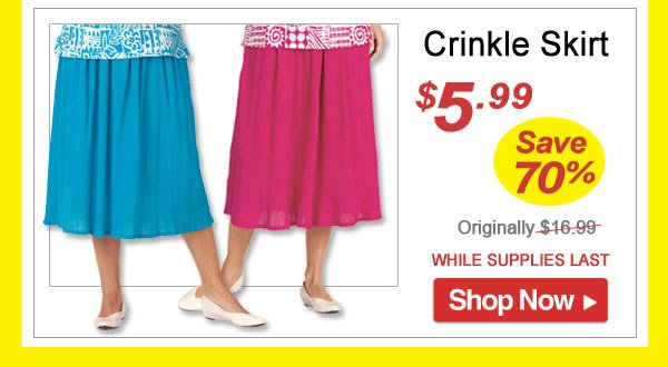 Crinkle Skirt - Save 70% - Now Only $5.99 Limited Time Offer