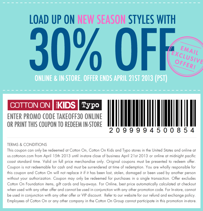Email exclusive 30% off coupon