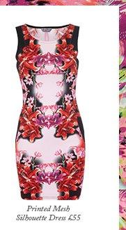 Printed Mesh Silhouette Dress