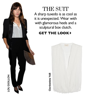 THE SUIT A sharp tuxedo is as cool as it is unexpected. Wear with glamorous heels and a sculptural box clutch. GET THE LOOK