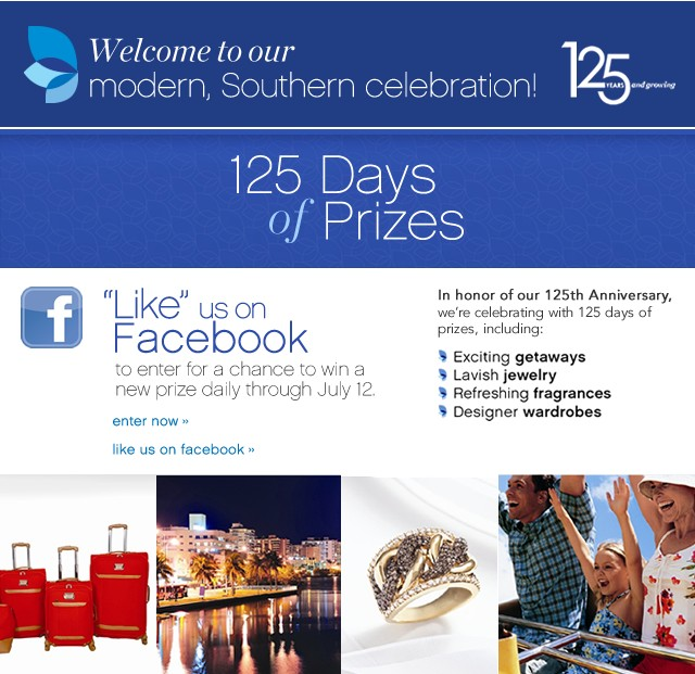 125 Days of Prizes. Like us on Facebook to enter for a chance to win a new prize daily through July 12. Enter now.