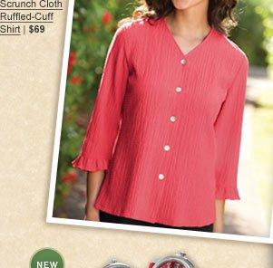Scrunch Cloth Ruffled-Cuff Shirt | $69