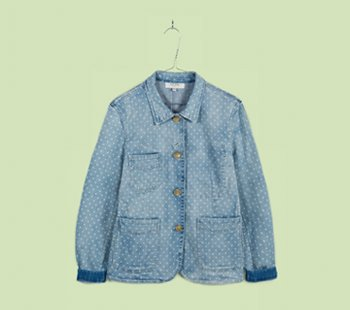 Light-Wash Polka Dot Denim Worker Jacket