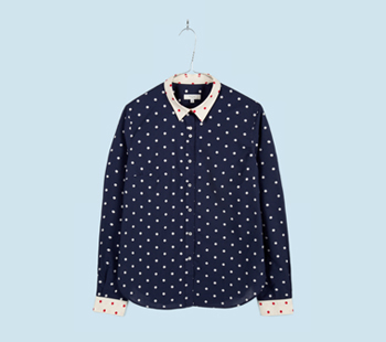 Navy Jacquard Polka Dot Shirt
