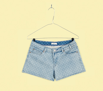 Light Wash Polka Dot Denim Shorts