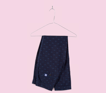 Navy Jacquard Polka Dot Trousers