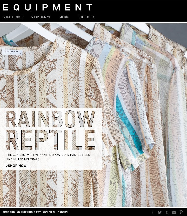 RAINBOW REPTILE THE CLASSIC PYTHON PRINT IS UPDATED IN PASTEL HUES AND MUTED NEUTRALS >SHOP NOW
